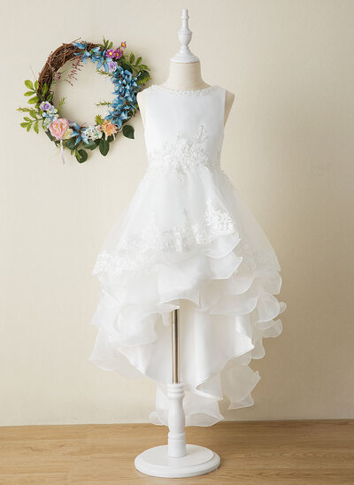 Plesové/Princesový Asymetrické Flower Girl Dress - Organza/Satén Bez rukávů Scoop Neck S Luk