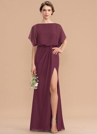 Sheath/Column Scoop Neck Floor-Length Chiffon Bridesmaid Dress With Ruffle Split Front