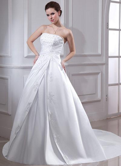 Balo Elbisesi Askısız Şapel Kuyruk Satin Gelinlik Ile Büzgü Lace Boncuklama