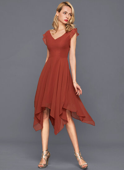 A-Line/Princess V-neck Asymmetrical Chiffon Cocktail Dress With Cascading Ruffles