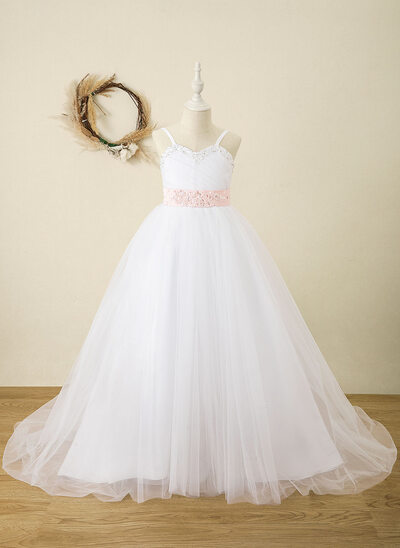 Ball-Gown/Princess Floor-length Flower Girl Dress - Satin Sleeveless Straps With Sash/Rhinestone (Detachable sash)