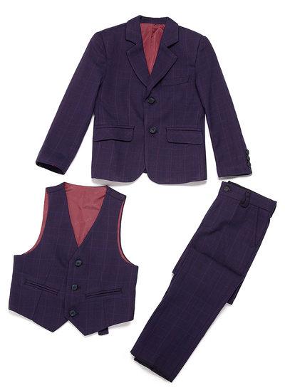 Garçons Plaid Costumes pour les porteurs de bague avec Veste Gilet Un pantalon