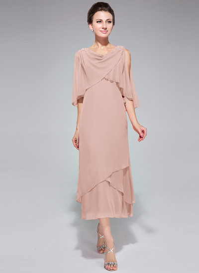 A-Linie/Princess-Linie Wasserfallausschnitt Wadenlang Chiffon Kleid für die Brautmutter mit Perlstickerei Pailletten Gestufte Rüschen