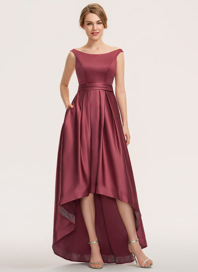 A-Linie Off-the-Schulter Asymmetrisch Satin Brautjungfernkleid