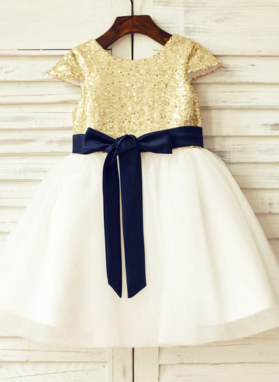 A-Line/Princess Knee-length Flower Girl Dress - Tulle/Sequined Sleeveless Scoop Neck With Sash/Sequins