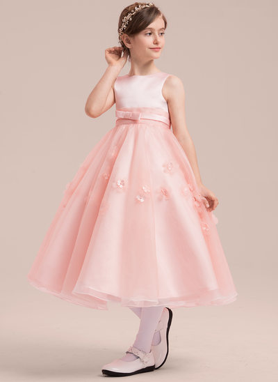 A-Line/Princess Tea-length Flower Girl Dress - Satin/Tulle Sleeveless Scoop Neck With Beading/Flower(s)