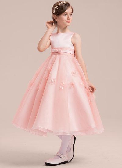Vestidos princesa/ Formato A Comprimento médio Vestidos de Menina das Flores - Cetim/Tule Sem magas Decote redondo com Beading/fecho de correr