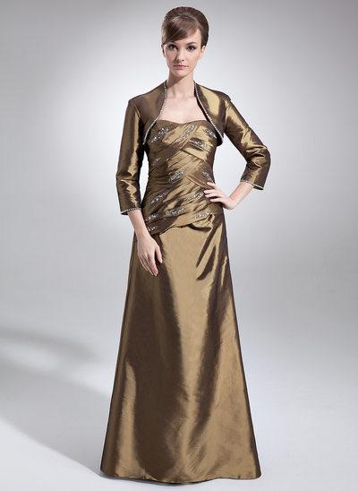 A-Line/Princess Sweetheart Floor-Length Taffeta Mother of the Bride Dress With Ruffle Beading