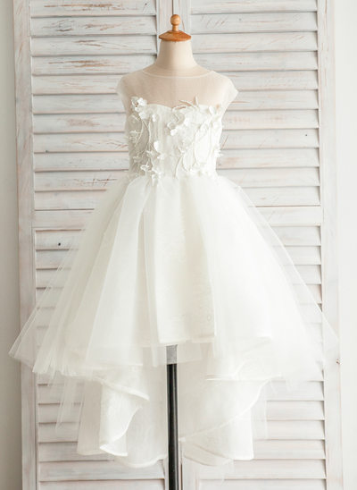Princesový Asymetrické Flower Girl Dress - Satén/Tyl/Bavlna Bez rukávů Bateau S Nášivky/V Back