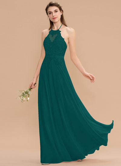 A-Line Halter Floor-Length Chiffon Lace Bridesmaid Dress With Bow(s)