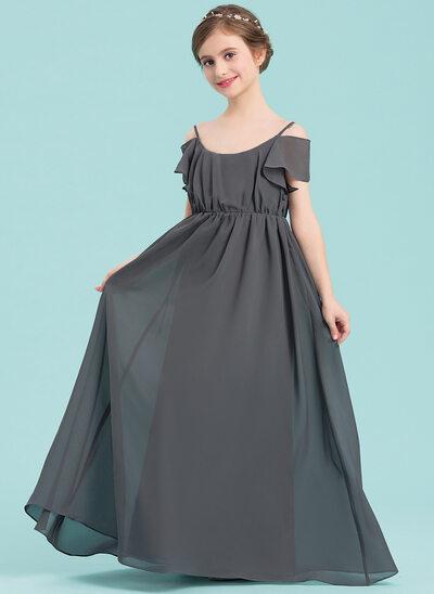 A-linjainen/Prinsessa Pyöreä kaula-aukko Lattiaa hipova pituus Sifonki Nuorten morsiusneito mekko jossa Rypytys