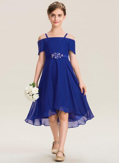 A-Linie Rechteckiger Ausschnitt Asymmetrisch Chiffon Kleid für junge Brautjungfern mit Perlstickerei Schleife(n)