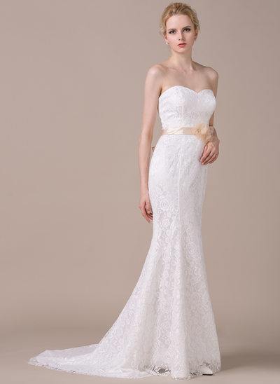 Trumpet/Mermaid Sweetheart Court Train Lace Wedding Dress With Sash Beading Flower(s) Bow(s)