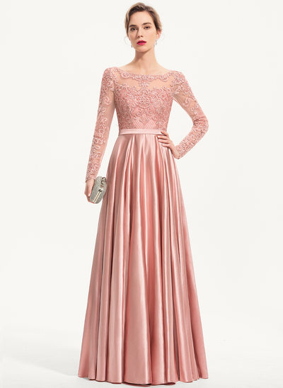 A-Line Scoop Neck Floor-Length Charmeuse Evening Dress With Sequins