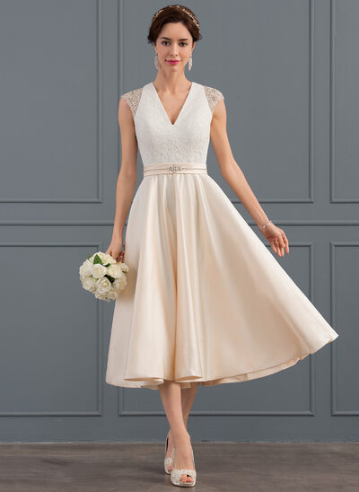 A-Line/Princess V-neck Tea-Length Satin Wedding Dress With Beading Sequins