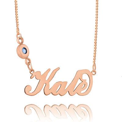 Gepersonaliseerde 18k rosé verguld zilver 'Carrie' stijl Script Naam Ketting Geboortesteen ketting - Verjaardag Cadeaus Moederdag Cadeaus