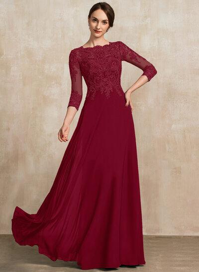A-Linie U-Ausschnitt Bodenlang Chiffon Spitze Kleid für die Brautmutter mit Pailletten