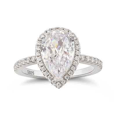 Sterling Silver Cubic Zirconia Halo Pear Cut Engagement Rings Promise Rings - Valentines Gifts