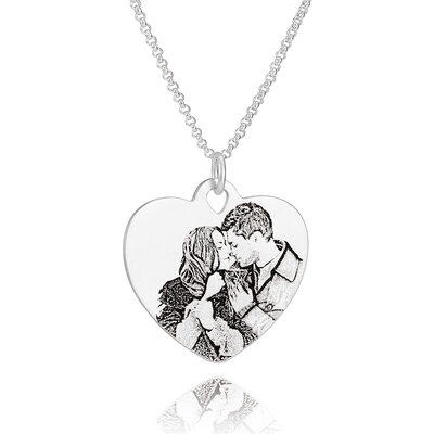 Custom Sterling Silver Heart Engraving/Engraved Black And White Photo Necklace - Birthday Gifts