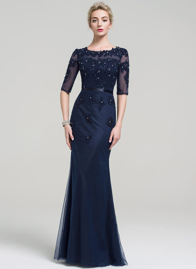 Trumpet/Mermaid Scoop Neck Floor-Length Tulle Lace Evening Dress With Beading Sequins