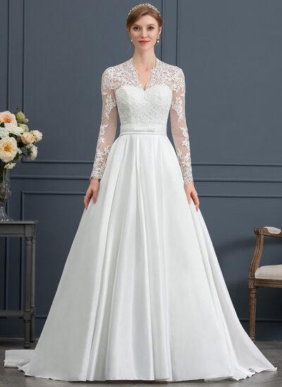 Corte de baile Escote en V Cola corte Satén Vestido de novia con Lazo(s)