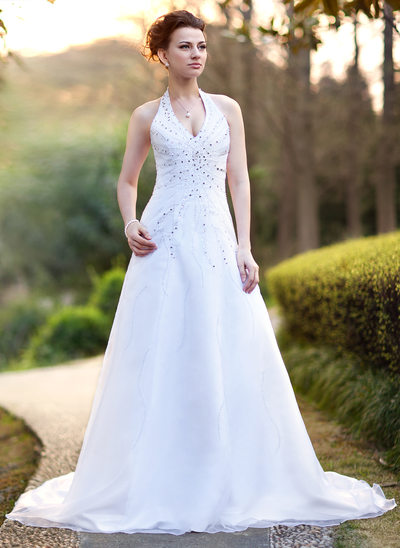 A-Line/Princess Halter Chapel Train Satin Organza Wedding Dress With Beading Sequins