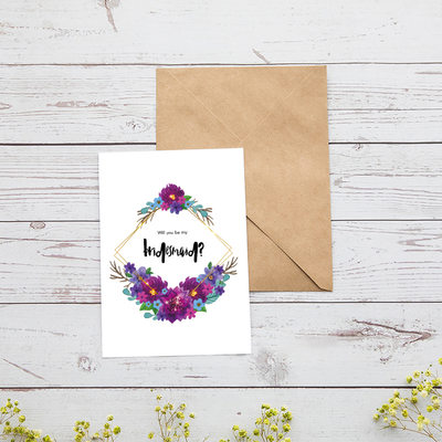 Bruidsmeisje Gifts - Aantrekkelijk Speciaal Het Oog Springende Kaart Papier Bruiloft dag kaart (Set van 4)