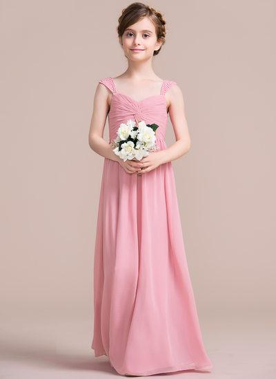 A-Line Sweetheart Floor-Length Chiffon Junior Bridesmaid Dress With Ruffle Beading