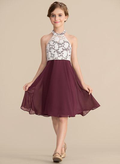 A-Linie/Princess-Linie U-Ausschnitt Knielang Chiffon Spitze Kleid für junge Brautjungfern