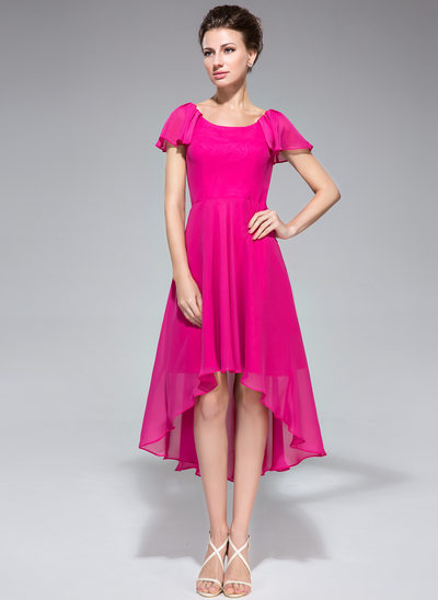 A-Line/Princess Scoop Neck Asymmetrical Chiffon Mother of the Bride Dress With Cascading Ruffles