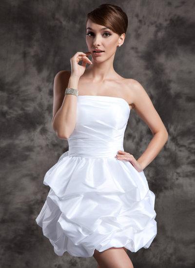 Corte A/Princesa Estrapless Corto/Mini Tafetán Vestido de novia con Volantes