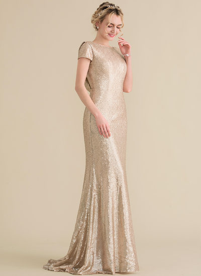 Trumpet/Mermaid Scoop Neck Sweep Train Sequined Bridesmaid Dress With Cascading Ruffles