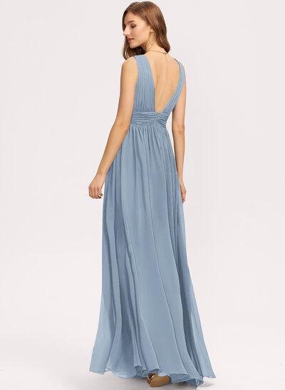 Çan V yaka Uzun Etekli Mezuniyet Elbisesi