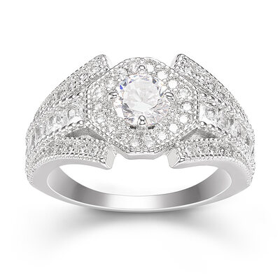 Sterling Silver Cubic Zirconia Vintage Round Cut Engagement Rings Promise Rings -