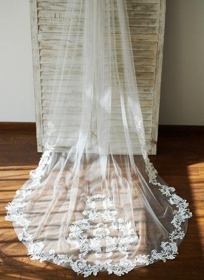 Uma camada Véus de noivas capela com Renda