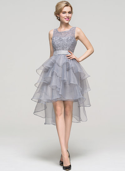 A-Line/Princess Square Neckline Asymmetrical Organza Cocktail Dress With Beading