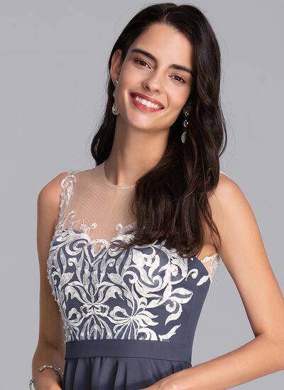 Corte A Decote redondo Curto/Mini Tecido de seda Vestido de boas vindas