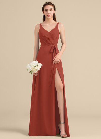 A-Line/Princess V-neck Floor-Length Chiffon Bridesmaid Dress With Ruffle Bow(s) Split Front