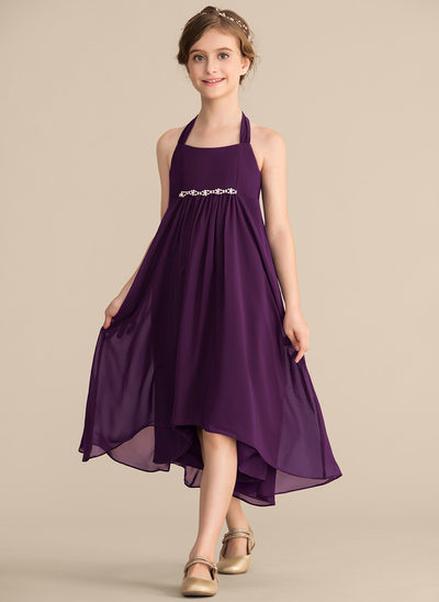 A-Line/Princess Halter Asymmetrical Chiffon Junior Bridesmaid Dress With Beading Bow(s)