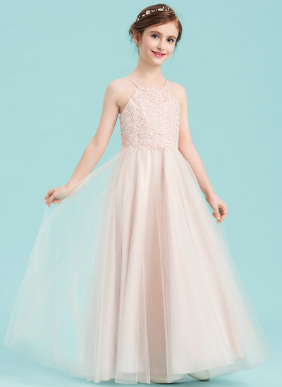 A-Line/Princess Square Neckline Floor-Length Tulle Junior Bridesmaid Dress With Beading