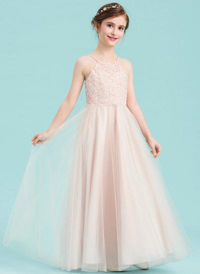 A-Linie/Princess-Linie Rechteckiger Ausschnitt Bodenlang Tüll Kleid für junge Brautjungfern mit Perlstickerei