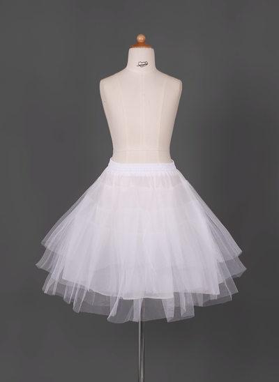 Girls Tulle Netting/Taffeta Short-length 3 Tiers Petticoats