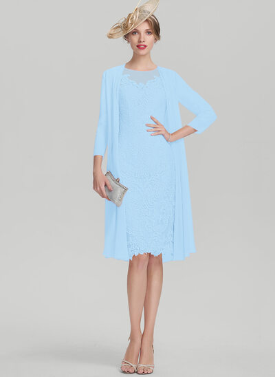 Etui-Linie U-Ausschnitt Knielang Spitze Kleid für die Brautmutter mit Perlstickerei Pailletten