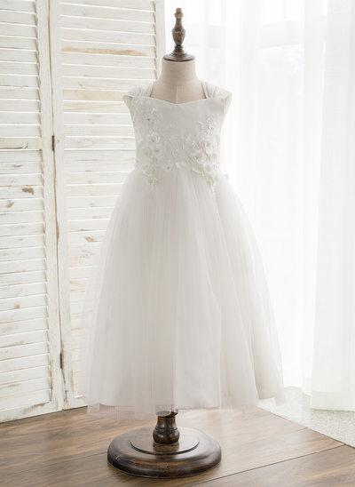 Forme Princesse Longueur mollet Robes à Fleurs pour Filles - Satiné/Tulle/Dentelle Sans manches Col V avec À ruban(s)