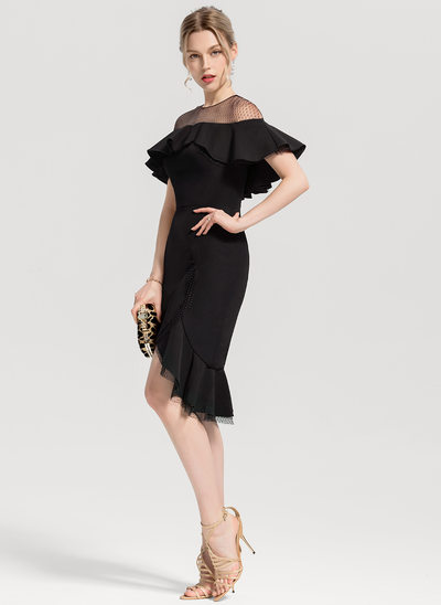 Trumpet/Mermaid Scoop Neck Asymmetrical Stretch Crepe Cocktail Dress With Cascading Ruffles