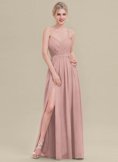 Çan/Prenses Sweetheart Uzun Etekli Şifon Nedime Elbisesi Ile Büzgü Bölünmüş Ön
