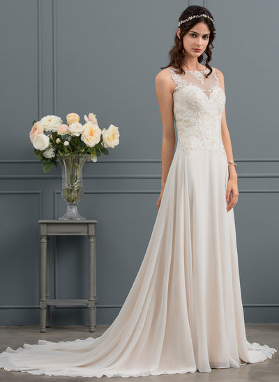 A-Line/Princess Scoop Neck Court Train Chiffon Wedding Dress With Sequins
