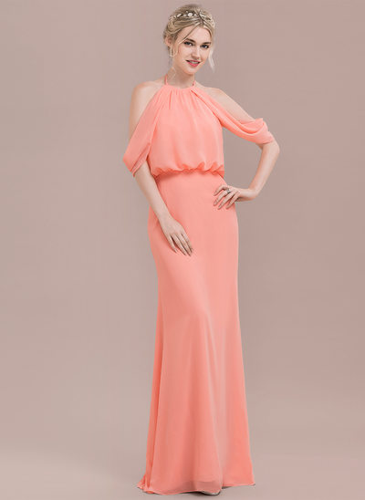 Trumpet/Mermaid Scoop Neck Floor-Length Chiffon Prom Dress With Ruffle