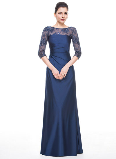 A-Line/Princess Scoop Neck Floor-Length Jersey Mother of the Bride Dress With Ruffle Beading Sequins