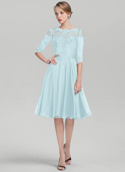 Vestidos princesa/ Formato A Decote redondo Coquetel Tecido de seda Renda Vestido para a mãe da noiva com lantejoulas
